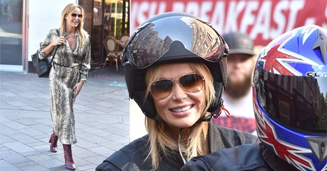 Amanda Holden braves a motorbike in snakeprint dress as she hitches a ride in London