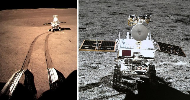 A view of the Jade Rabbit rover snapped from the Chang'e-4 lander (Image: CNSA), CNS, AFP)