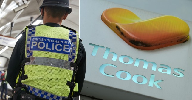 British Transport Police officer next to picture of Thomas Cook sign