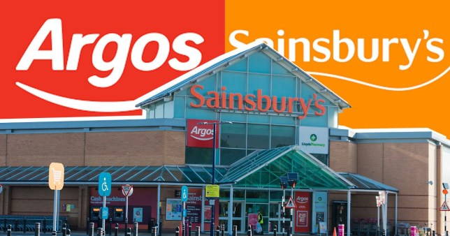 The front entrance of a Sainsbury's store, with the supermarket's logo in the background, along with an Argos logo