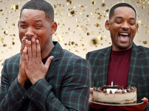 Will Smith is a total mood as he's blessed with birthday cake at Gemini Man premiere