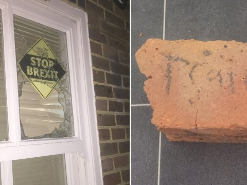 'Traitor' brick thrown through window of house showing anti-Brexit posters