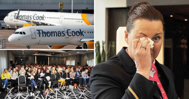 Compilation of Thomas Cook staff meeting at Manchester airport