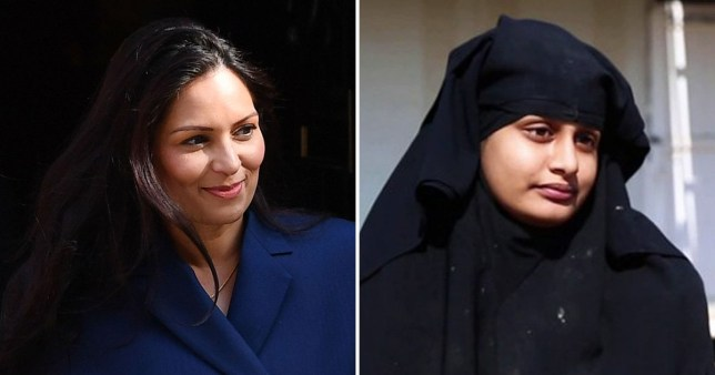 Home secretary Priti Patel has said Shamima Begum will never be allowed back to the UK (Picture: Getty, ITV News)