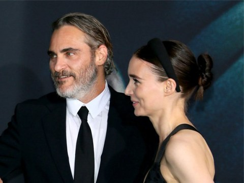 Joaquin Phoenix and fiancee Rooney Mara put on loved-up display at Joker premiere