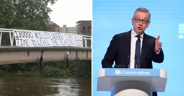 The threatening banner was put up ahead of the Tory conference in Manchester