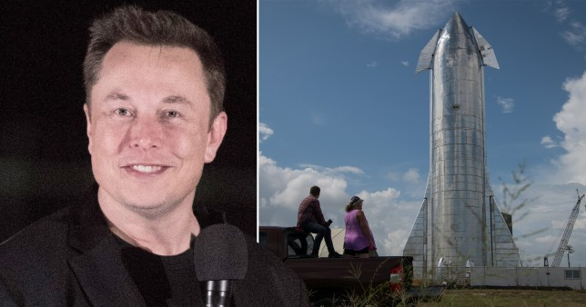 Elon Musk shown alongside a SpaceX rocket that's designed to fly to Mars (Picture: Getty)