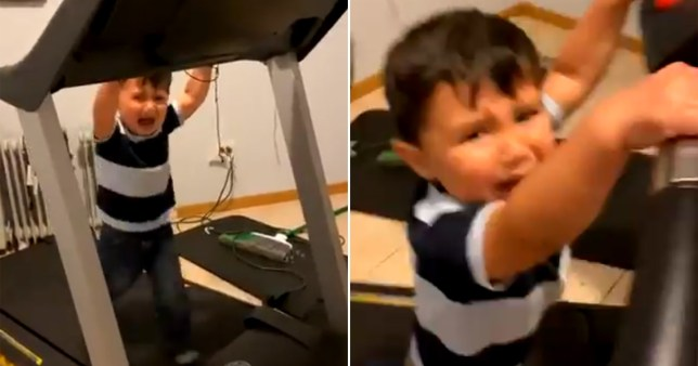 Little boy stuck on treadmill crying