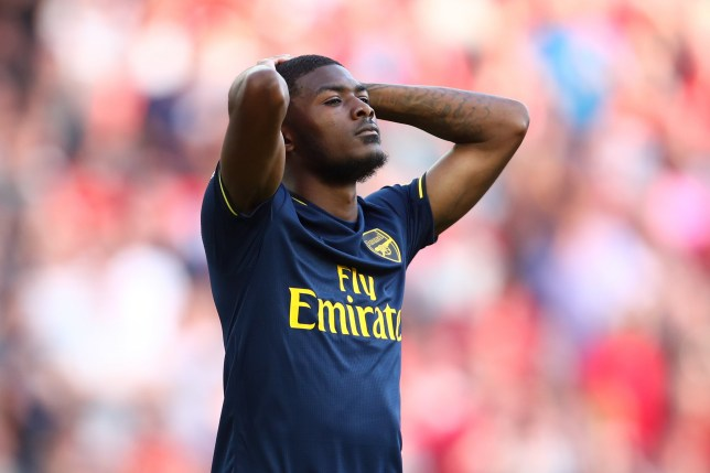 Ainsley Maitland-Niles of Arsenal reacts during the Premier League match between Liverpool FC and Arsenal