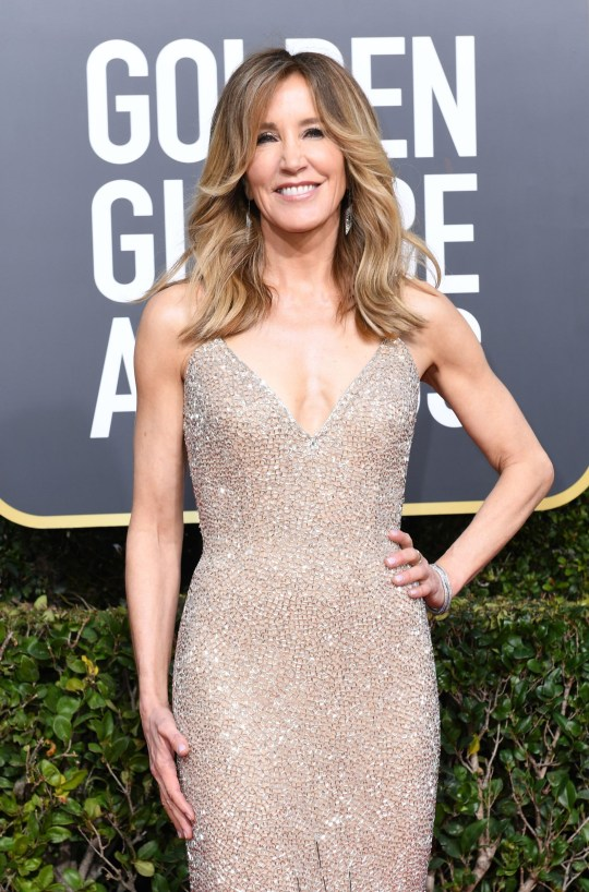 US actress Felicity Huffman arrives for the 76th annual Golden Globe Awards on January 6, 2019, at the Beverly Hilton hotel in Beverly Hills, California. (Photo by VALERIE MACON / AFP) (Photo credit should read VALERIE MACON/AFP/Getty Images)