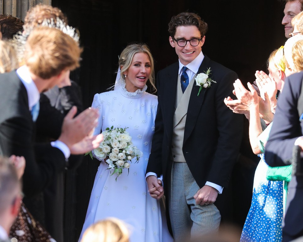 YORK, ENGLAND - AUGUST 31: Ellie Goulding and Jasper Jopling seen leaving York Minster Cathedral after their wedding ceremony on August 31, 2019 in York, England. (Photo by John Rainford/GC Images)