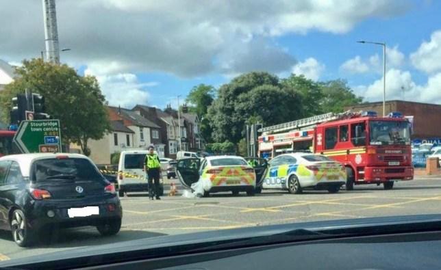 The scene on Wollaston Raod in Stourbridge