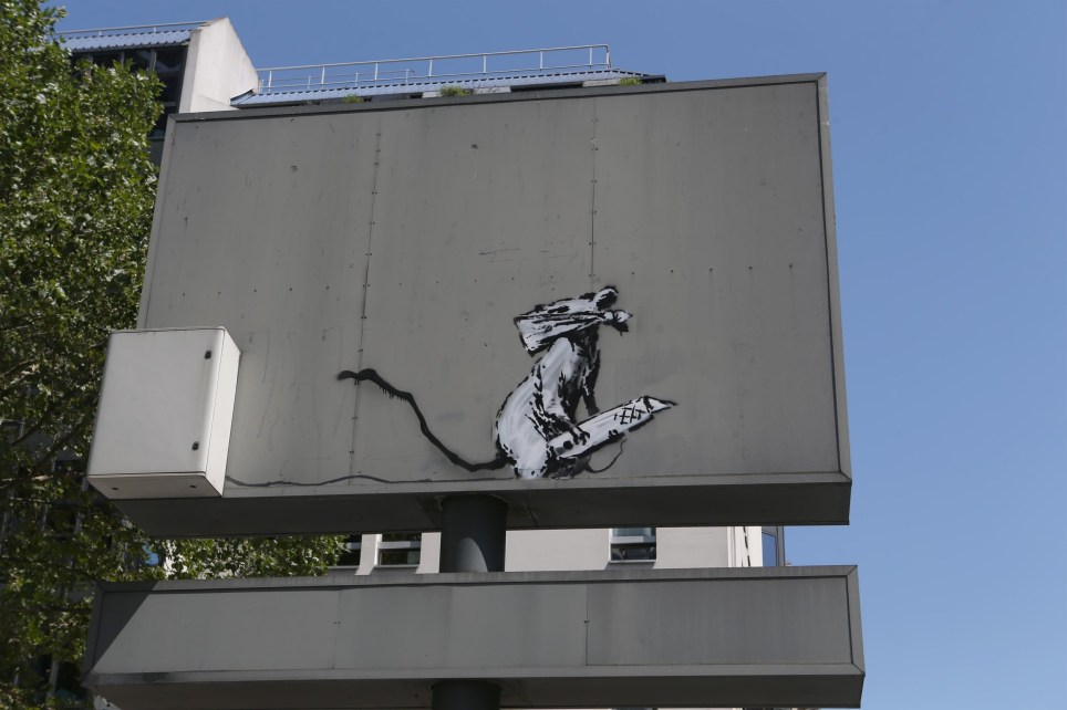 'The rat' of the famous British artist Banksy was stolen on the night of September 1st, 2019 near Beaubourg in Paris (Picture: Backgrid)