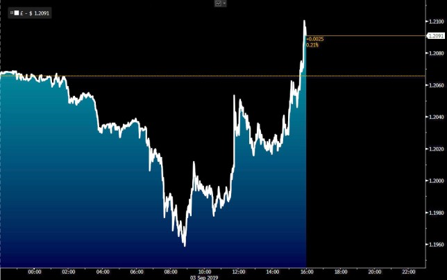 The Pound has rebounded after Boris Johnson lost his parliamentary majority (Graph: Bloomberg)