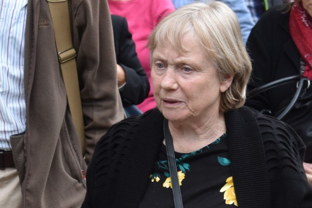 """Mavis Eccleston leaving Stafford Crown Court, where she is on trial accused of murdering her husband Dennis in a """"mercy killing"""" after his bowel cancer was diagnosed as terminal"""