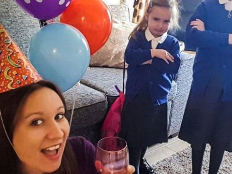 Mum throws herself one-woman party to celebrate end of summer holidays