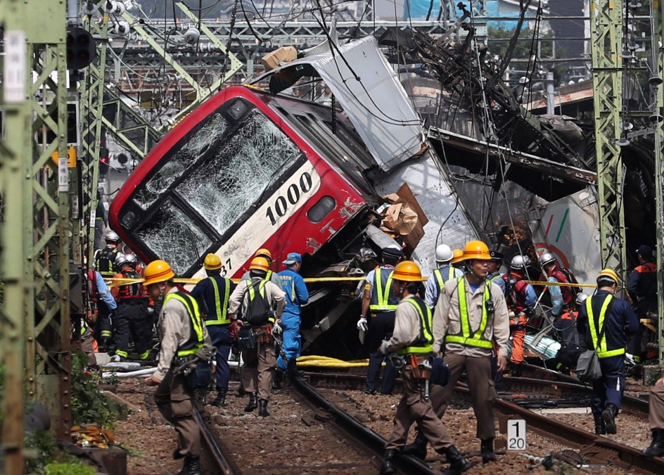 Japan rail crash: 34 injured as truck and train collide in