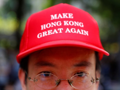 Protesters wear 'Make Hong Kong Great Again' hats to ask Donald Trump for help
