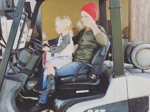 Pink challenges trolls as she sips drink while 'driving forklift' because who needs rules?