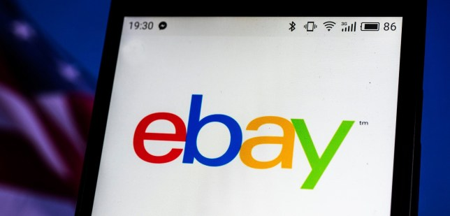The ebay logo on a phone