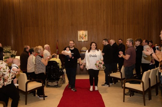 Rebecca and Glen Maxwell had their ceremony at the town hall, with 40 of their closest family members and friends