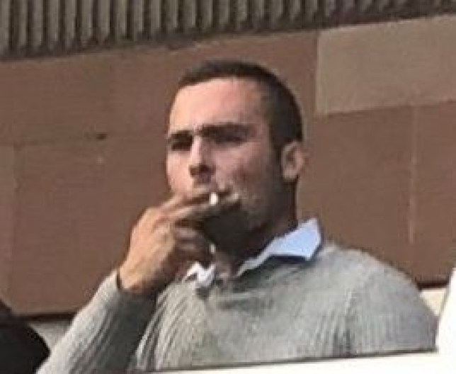 Curtis Nicholson pictured smoking outside Newcastle Crown Court Credit: NCJ Media