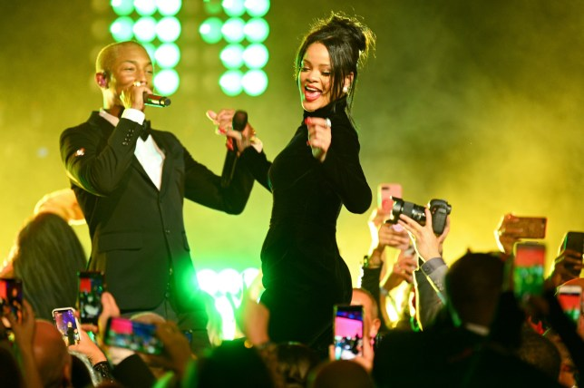 Pharrell Williams and Rihanna perform on stage during Rihanna's 5th Annual Diamond Ball Benefitting The Clara Lionel Foundation