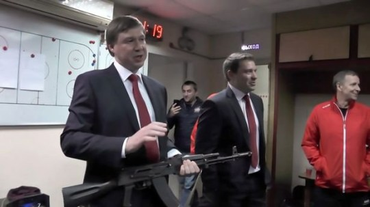 Russian ice hockey team rewards man of the match with AK-47