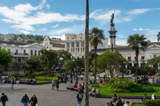 In the heart of Colonial Quito is the Main Square: Plaza Grande or Plaza de la Independencia in the city of Quito, Ecuador. (Photo by: Avalon/Universal Images Group via Getty Images)