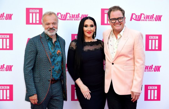 Graham Norton, Michelle Visage and Alan Carr attending the RuPaul Drag race premiere, Bloomsbury Ballroom, London. PRESS ASSOCIATION Photo. Picture date: Tuesday September 17, 2019. See PA story SHOWBIZ RuPaul. Photo credit should read: Ian West/PA Wire