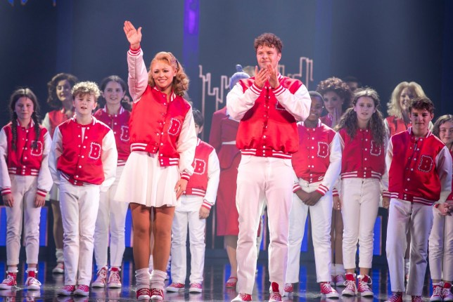 Kimberley Walsh and Jay McGuiness during the curtain call for 'Big The Musical'