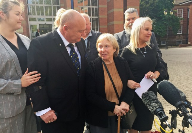Mavis Eccleston, with daughter Joy and son Kevin, outside Stafford Crown Court after she was cleared of the murder and manslaughter of her husband Dennis. PA Photo date: Wednesday September 18, 2019. The 80-year-old, formerly of Huntington, near Cannock, gasped and started to cry after the unanimous verdicts were returned following a two-week trial. See PA story COURTS Eccleston. Photo credit should read: Matthew Cooper/PA Wire