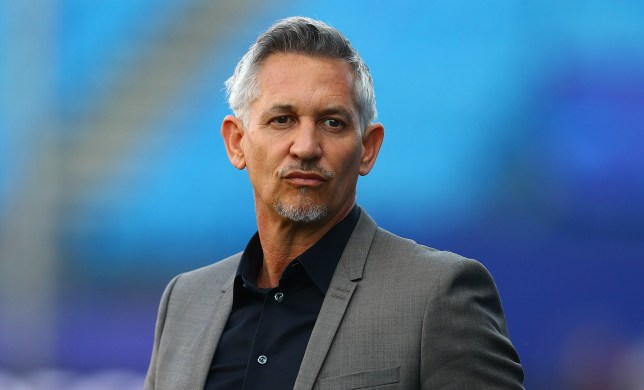 BT Sport presenter and Leicester City fan Gary Lineker working pitchside before kick off during the UEFA Champions League Quarter Final First Leg match between Atletico Madrid and Leicester City played at The Vicente Calderon Stadium