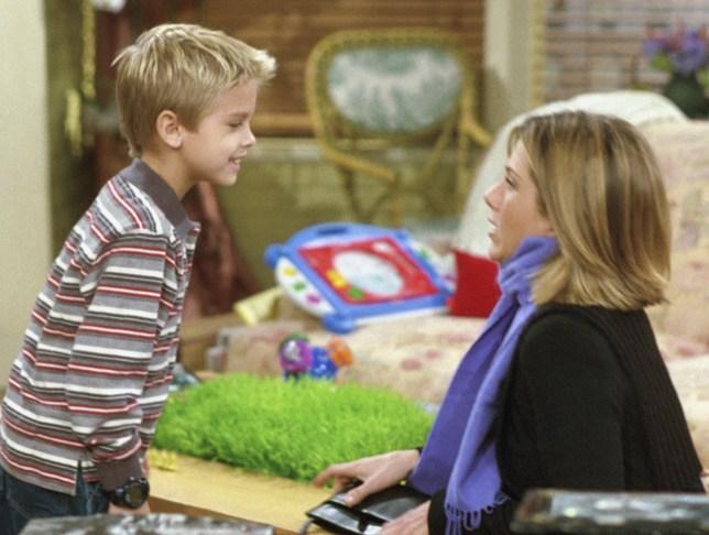 Cole Sprouse as Ben Geller with Jennifer Aniston as Rachel Green in Friends