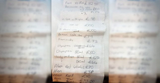 "The shopping list of stolen items found on the woman in Norwich. See SWNS copy SWCAshopping: A hapless thief who was wanted for a ""stream of high value thefts"" was caught red handed by police after they found her shopping list of stolen items. The woman, who is in her thirties, wrote down a long list of valuables including expensive designer perfumes along with their prices. Police stopped the wanted woman, on Thursday (September 19) while she was driving in Norwich, Norfolk."