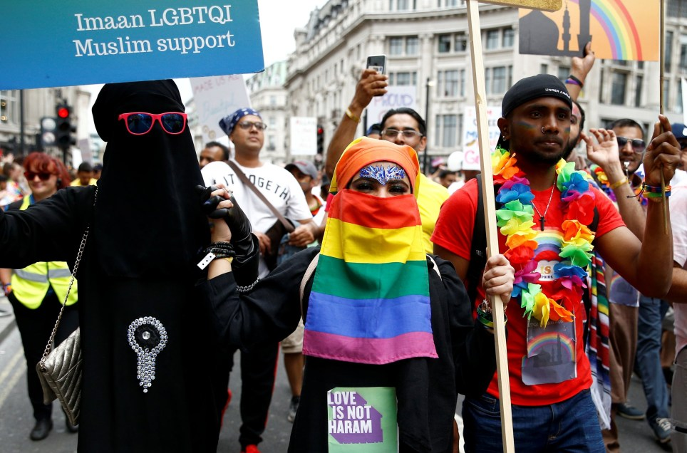 Participants take part in the annual Pride in London parade, in London, Britain July 6, 2019. REUTERS/Henry Nicholls - RC159D80C770