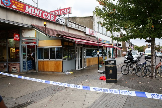 ?? Licensed to London News Pictures. 22/09/2019. London, UK. The scene outside a cafe and a restaurant on Langham Road in North London near Turnpike Lane underground and bus station where three men were stabbed and rushed to hospital. Met police were call shortly after 4pm this afternoon to Langham Road and found three men suffering from stab wounds. According to the Met Police, two men have been arrested on suspicion of GBH. Photo credit: Dinendra Haria/LNP