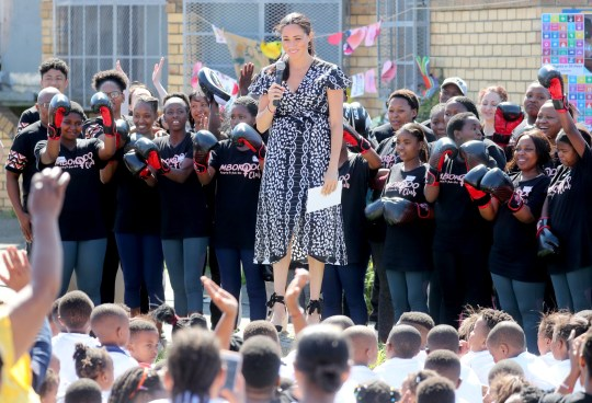 CAPE TOWN, SOUTH AFRICA - SEPTEMBER 23: Meghan, Duchess of Sussex makes a speech as she visits a Justice Desk initiative in Nyanga township, with Prince Harry, Duke of Sussex, during their royal tour of South Africa on September 23, 2019 in Cape Town, South Africa. The Justice Desk initiative teaches children about their rights and provides self-defence classes and female empowerment training to young girls in the community. (Photo by Chris Jackson/Getty Images)