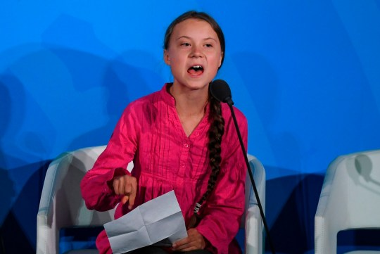 Youth Climate activist Greta Thunberg speaks during the UN Climate Action Summit on September 23, 2019 at the United Nations Headquarters in New York City. (Photo by TIMOTHY A. CLARY / AFP)TIMOTHY A. CLARY/AFP/Getty Images