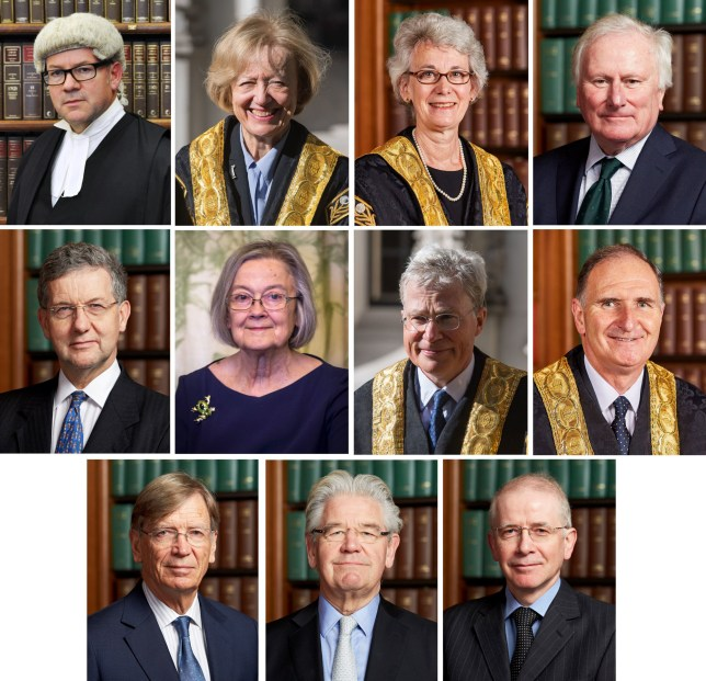 Undated handout and file photos of (top row, from left) Lord Sales, Lady Arden, Lady Black, Lord Kerr, (second row, from left) Lord Hodge, Lady Hale, Lord Kitchin, Lord Lloyd-Jones, (bottom row, from left) Lord Carnwath, Lord Wilson, and Lord Reed, who are the 11 Supreme Court judges who will deliver their ruling Tuesday on Prime Minister Boris Johnson's decision to suspend Parliament until October 14. PA Photo. Issue date: Monday September 23, 2019. See PA story COURTS Brexit. Photo credit should read: Supreme Court/PA Wire