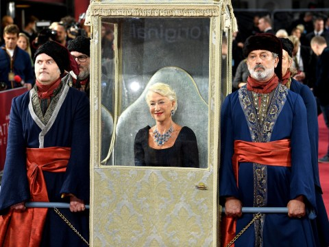 Helen Mirren sails into Catherine The Great premiere lifted by four men like the dame she is
