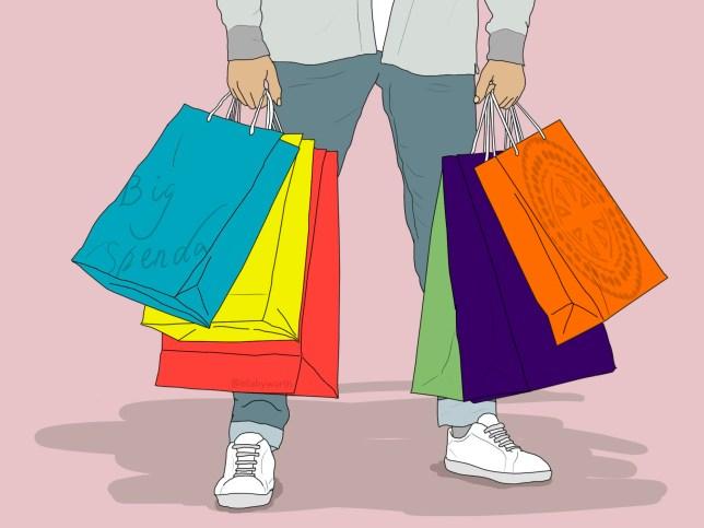 Shopping spree, bags.