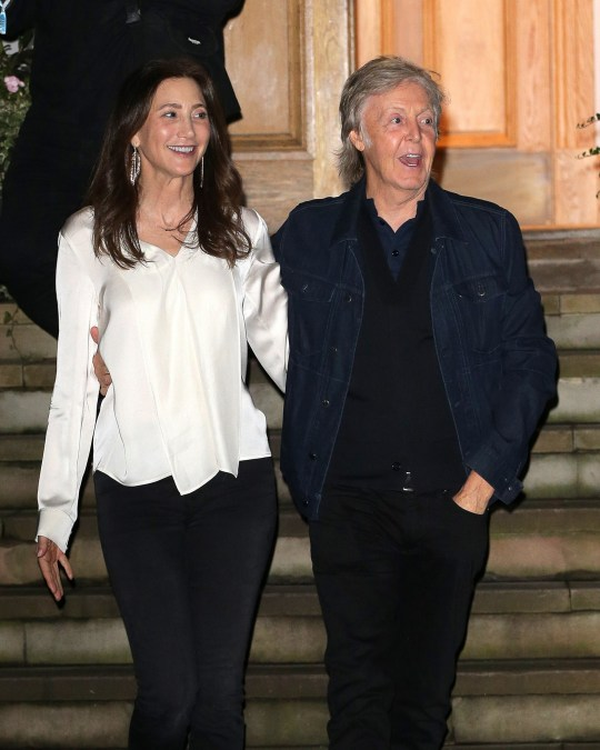LONDON, ENGLAND - SEPTEMBER 26: Nancy Shevell and Sir Paul McCartney seen attending Apple Corps - Abbey Road 50th anniversary party on September 26, 2019 in London, England. (Photo by Ricky Vigil M/GC Images)