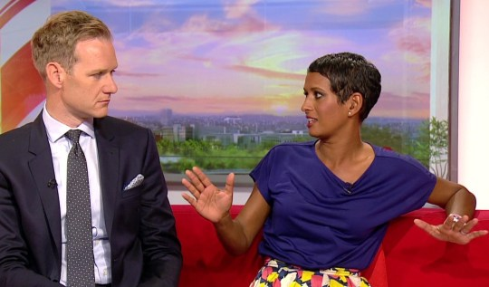 pic shows: BBC Breakfast 17 July broadcast. Naga Munchetty and Dan Walker discussing Donald Trump???s ???go back to where to you came from??? statement for which she has been cited. Picture by Pixel8000 07917221968