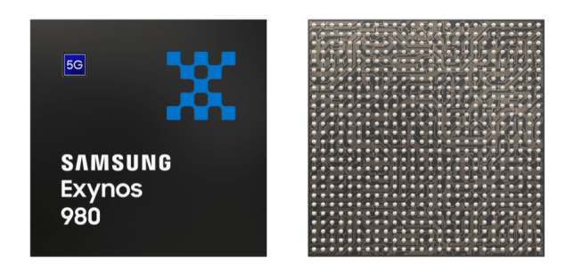 A view of the Samsung Exynos 980 chip (Image: Samsung)