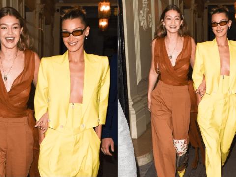 Bella and Gigi Hadid link arms as they stylishly glide through Paris fashion week