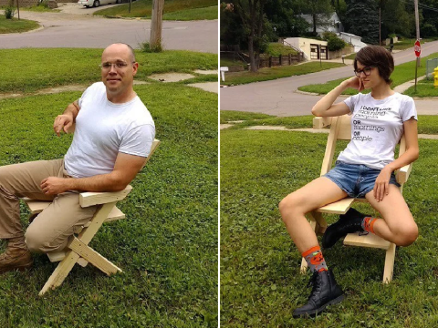 Dad creates a 'bi-chair' for his bisexual daughter who can't 'sit straight'