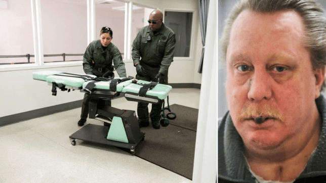 File photo of execution chamber next to photo of death row killer Russell Bucklew