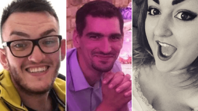 Ashley Martin (centre), 32, killed himself, ex-girlfriend Jay Edmunds (right), 27, and her boyfriend Billy Hicks (left), 24, in a fireball explosion, an inquest heard (Picture: BPM/Lincolnshire Live/MEN MEDIA)