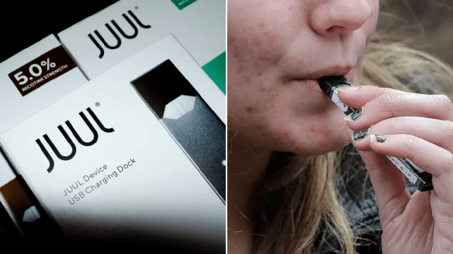 File photo of Juul packets next to photo of woman smoking an e-cigarette